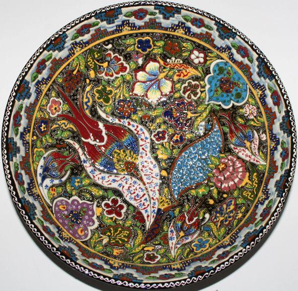 "12""x4"" Turkish Handmade Iznik Raised Detailed Floral Pattern China Bowl"