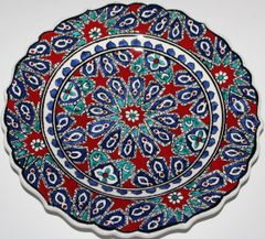 "10"" (25cm) Handmade Turkish Iznik Seljuk Geometric Pattern Ceramic Plate"