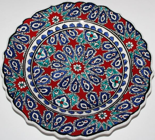 "10"" (25cm) Handmade Turkish Iznik Seljuk Geometric Pattern Ceramic Plate"