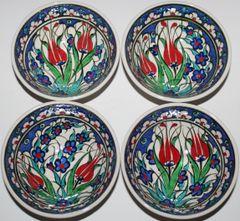 "5""x2"" Handmade Turkish Iznik Tulip Pattern Ceramic Bowl Set of 4"