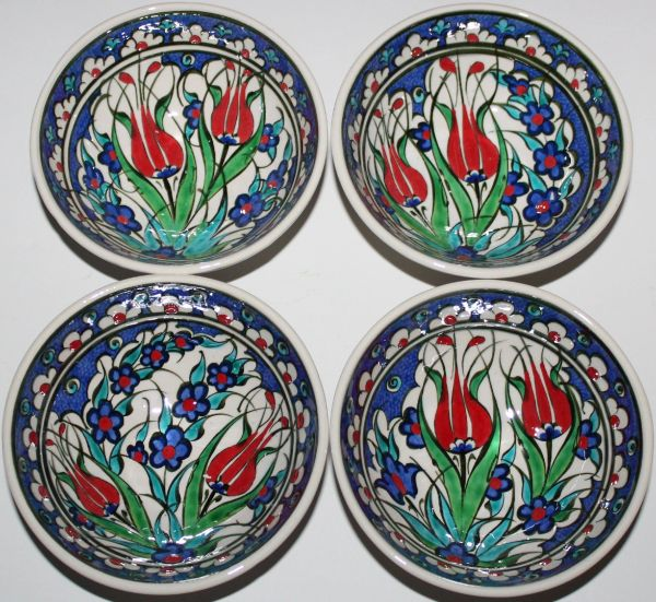 "5""x2"" Handmade Turkish Iznik Tulip Pattern Ceramic Bowl Set of 4"