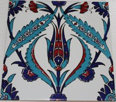 "Set of 20 Turkish 8""x8"" Iznik Tulip & Floral Pattern Ceramic Tiles"