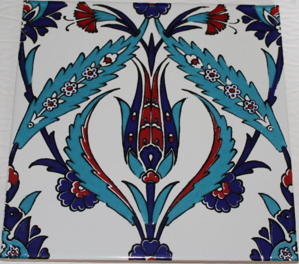 "Set of 20 Turkish 8""x8"" Iznik Tulip & Floral Pattern Ceramic Tiles"