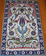 "24""x40"" Handpainted Turkish Iznik Floral Pattern Ceramic Tile Mural Panel"