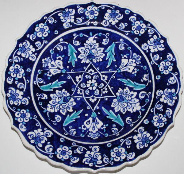 "10"" Cobalt Blue Turkish Iznik Floral Pattern Bone China Plate"