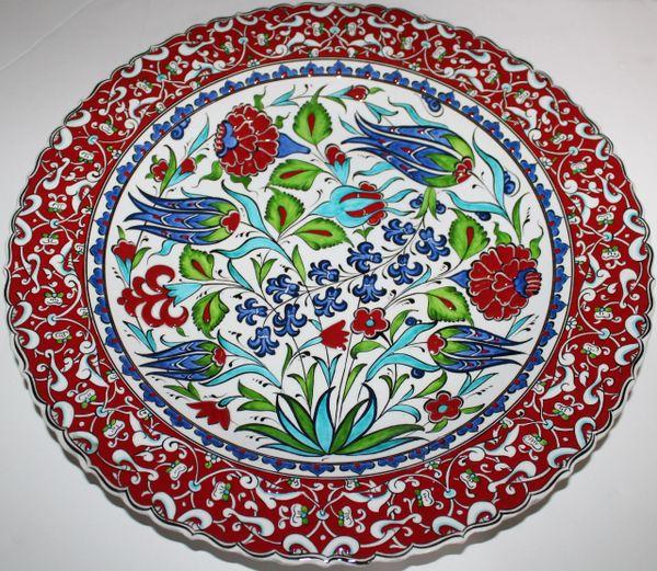 "16"" (40cm) Handmade Turkish Iznik Carnation & Floral Pattern Ceramic Plate Bowl"