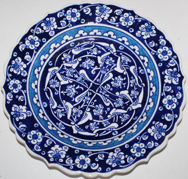 "10"" Blue & White Turkish Iznik Floral Pattern Bone China Plate"