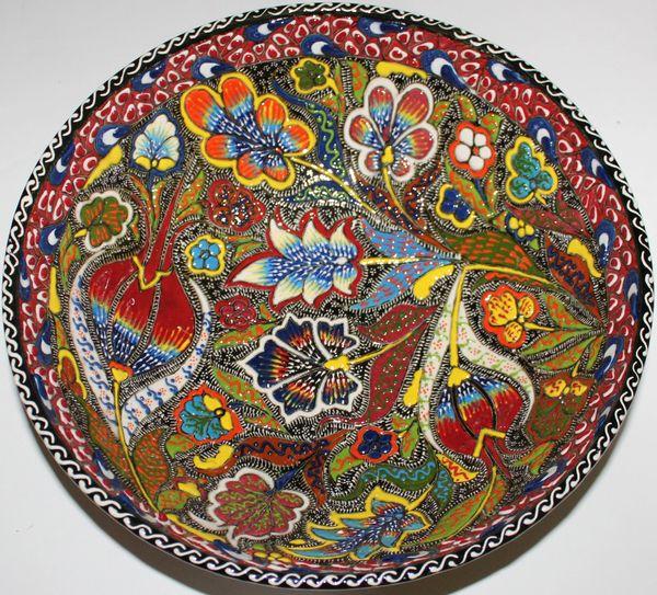"12""x4"" Turkish Special Edition Handmade Iznik Raised Floral Pattern China Bowl"