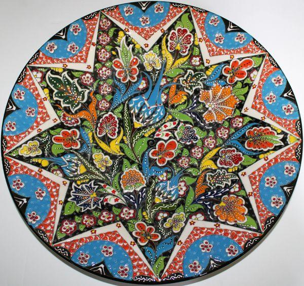 "16"" (40cm) Handmade Turkish Textured Iznik Pattern Ceramic Plate"