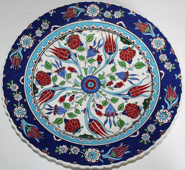 "16"" (40cm) Handmade Turkish Iznik Floral Pattern Ceramic Plate Bowl"