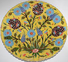 "16"" (40cm) Handmade Turkish Iznik Mustard Floral Pattern Ceramic Plate"