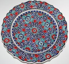 "12"" (30cm) Handmade Turkish Iznik Seljuk Geometric Pattern Ceramic Plate"