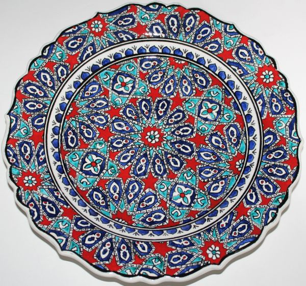 "12"" (30cm) Handmade Turkish Iznik Seljuk Geometric Pattern Ceramic Plate"
