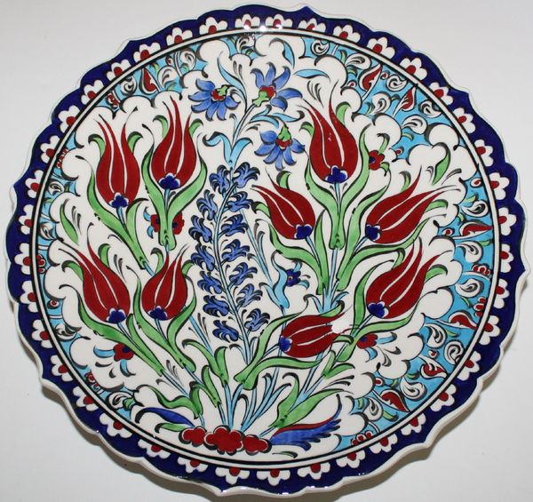 "10"" (25cm) Handmade Turkish Iznik Tulip & Carnation Pattern Ceramic Plate"