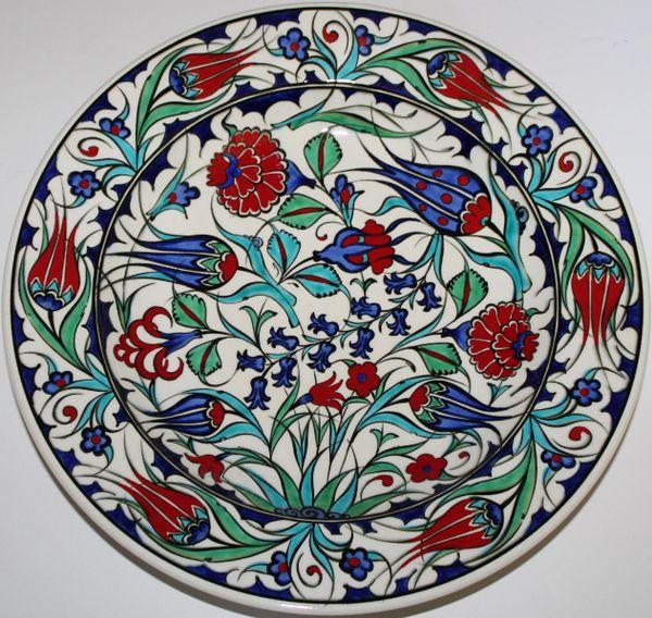 "12"" Turkish Handmade Iznik Red Tulip & Floral Pattern Ceramic Plate"