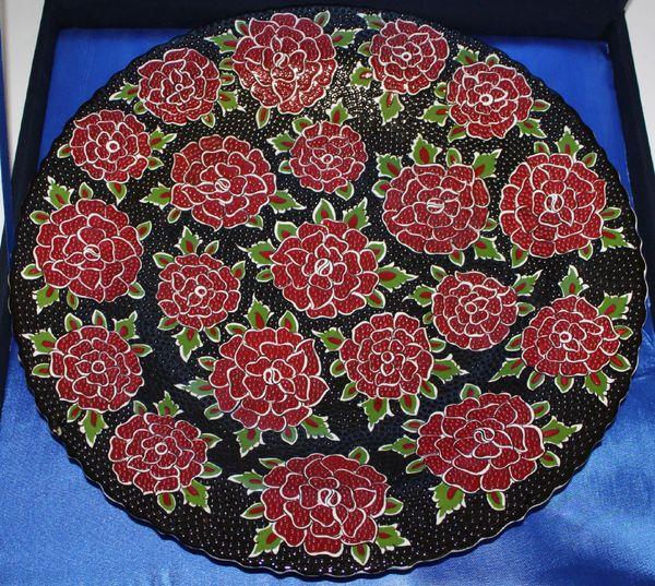 """16"""" (40cm) Handmade Turkish Iznik Carnation Pattern Cini Plate in Velvet Box"""