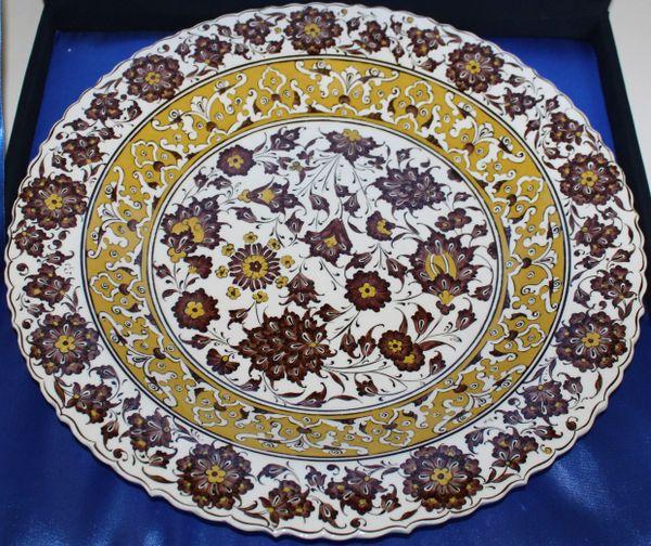 "16"" (40cm) Handmade Turkish Iznik Floral Pattern Ceramic Plate in Velvet Box"