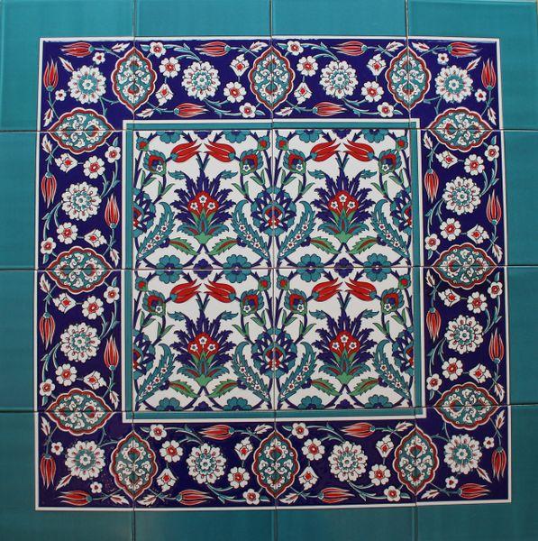 "Iznik Tulip & Carnation Pattern 32""x32"" Turkish Ceramic Tile MURAL PANEL"