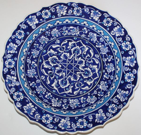 "12"" Turkish Hand-painted 16th Century Iznik Floral Pattern Ceramic Plate"