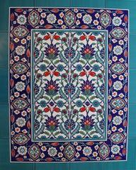 "Iznik Tulip & Carnation Pattern 32""x40"" Turkish Ceramic Tile MURAL PANEL"
