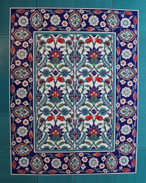 "Iznik Tulip & Carnation Pattern 32""x40"" Turkish Ceramic Tile MURAL PANEL"