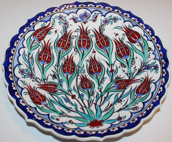 "12"" (30cm) Handmade Turkish Iznik Tulip & Floral Pattern Ceramic Plate"