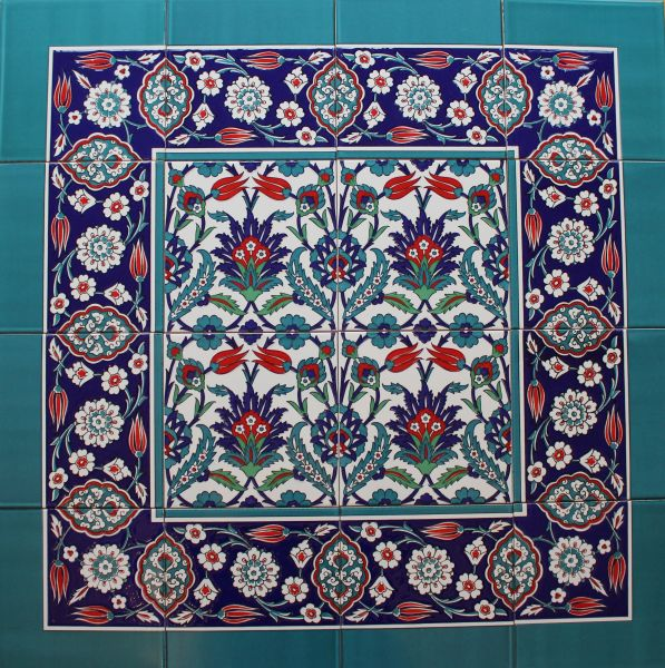"Iznik Tulip & Carnation Pattern 32""x32"" Turkish Ceramic Tile MURAL PANEL"
