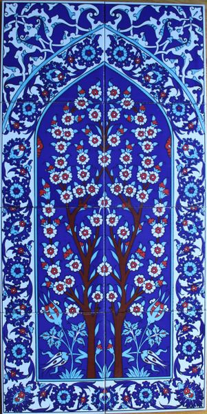 "16""x32"" Turkish Hand-painted Iznik Tree of Life Pattern Ceramic Tile Mural Panel"