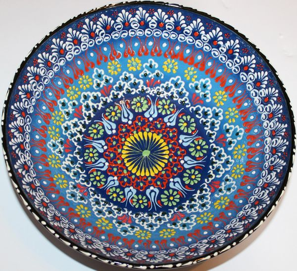 "12""x4"" Handmade Turkish Iznik Raised Floral Pattern Ceramic Bowl"
