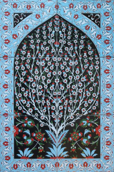 "16""x24"" Turkish Hand-painted Iznik Tree of Life Pattern Ceramic Tile Mural Panel"