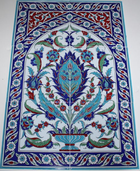 "16""x24"" Turkish Hand-painted Iznik Carnation & Vase Pattern Ceramic Tile Mural Panel"
