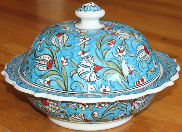 """Handmade 12""""x4"""" Turkish Blue Iznik Floral Pattern Ceramic Bowl w/ Lid"""