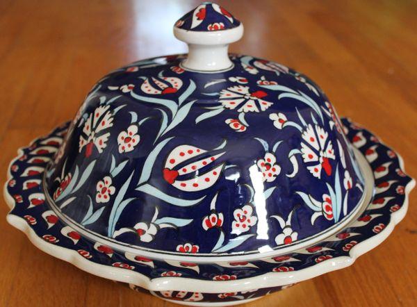 """Handmade 12""""x4"""" Turkish Dark Blue Iznik Floral Pattern Ceramic Bowl w/ Lid"""