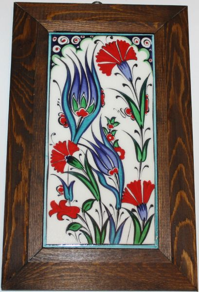 "Wood Framed 11""x7"" Handmade Turkish Iznik Floral Tile PANEL MURAL"