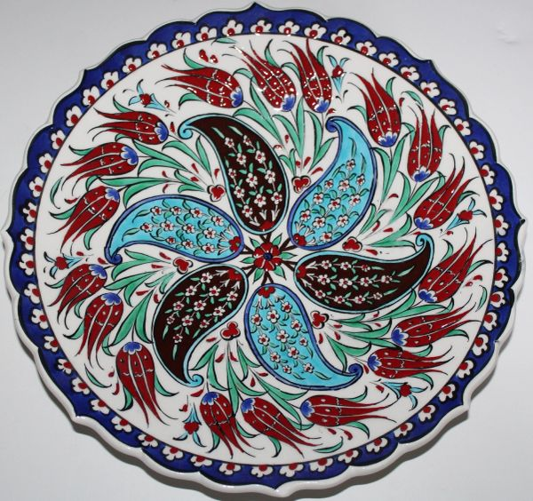 "12"" Turkish Handmade Iznik Red Tulip & Carnation Pattern Ceramic Plate"