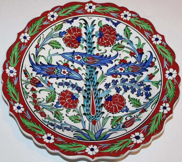 "12"" Handmade Turkish Iznik Red Carnation & Floral Pattern Ceramic Plate"