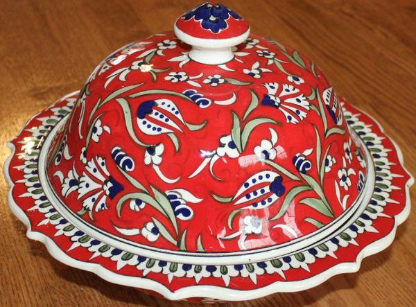 """Handmade 12""""x4"""" Turkish Red Iznik Floral Pattern Ceramic Bowl w/ Lid"""