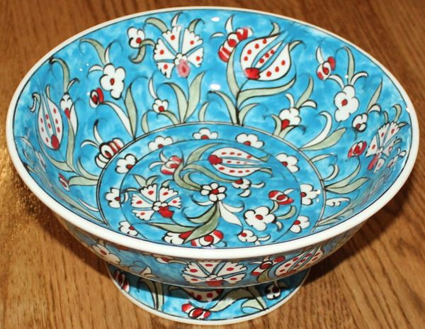 "Handmade 9""x4"" Turkish Blue Iznik Floral Pattern Ceramic Candy Bowl"