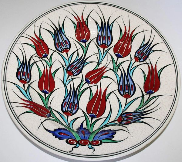 "Special Edition 12"" (30cm) Handmade Turkish Iznik Red & Blue Tulip Pattern Ceramic Plate"