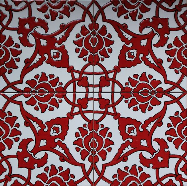 "90 Red Turkish Iznik Raised Carnation & Floral Pattern 8""x8"" Tile"