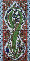 "8""x16"" Turkish Hand-painted Iznik Floral Pattern Ceramic Tile Set"