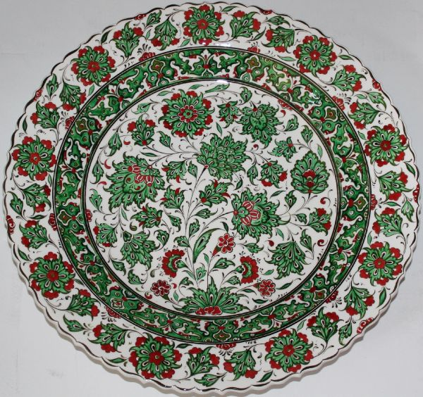 "16"" (40cm) Handmade Turkish Detailed Iznik Carnation Pattern Ceramic Plate"