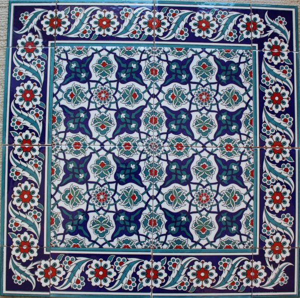 "24""x24"" Turkish Iznik Daisy & Floral Pattern Ceramic Tile Mural Panel"