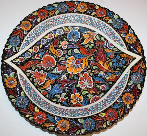 "16"" (40cm) Handmade Turkish Detailed Iznik Pattern Ceramic Plate"