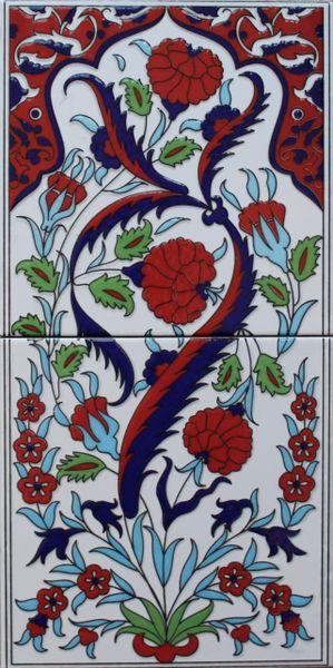 "8""x16"" Turkish Hand-painted Iznik Carnation & Floral Pattern Ceramic Tile Set"