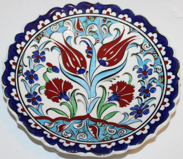 "7"" (18cm) Turkish Iznik Red Carnation Pattern Ceramic Plate"