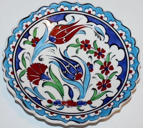 "7"" (18cm) Turkish Iznik Carnation, Tulip & Floral Pattern Ceramic Plate"