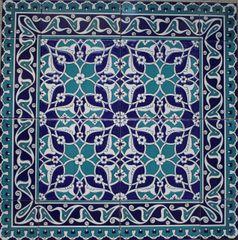 "24""x24"" Blue & White Turkish Iznik Floral Pattern Ceramic Tile Mural Panel"