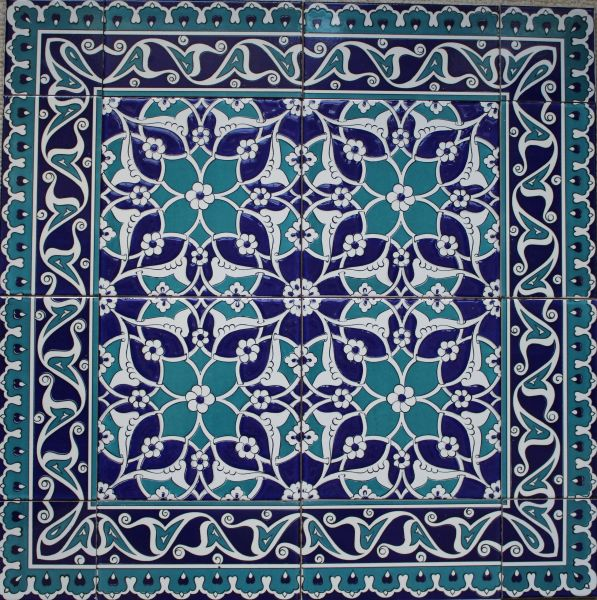 "24""x24"" Blue & White Turkish Iznik Floral Pattern Ceramic Tile Mural Panel"