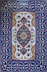 "16""x24"" Turkish Iznik Floral Pattern Ceramic Tile Mural Panel Set"